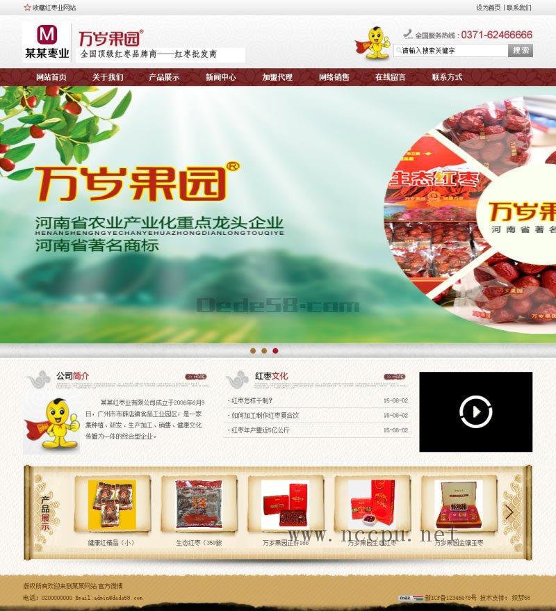 红枣干果等食品类公司企业产品展示欧宝娱乐代理申请建设案例「响应式」